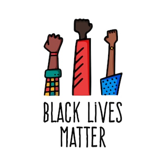 Vidas negras importam projeto de bandeira com ilustração em vetor mão punho americano africano