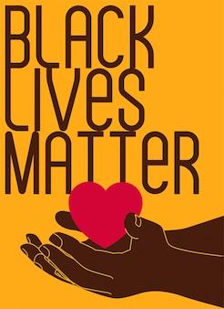 Vidas negras importam texto e mão com coração em fundo amarelo para banner ou cartão