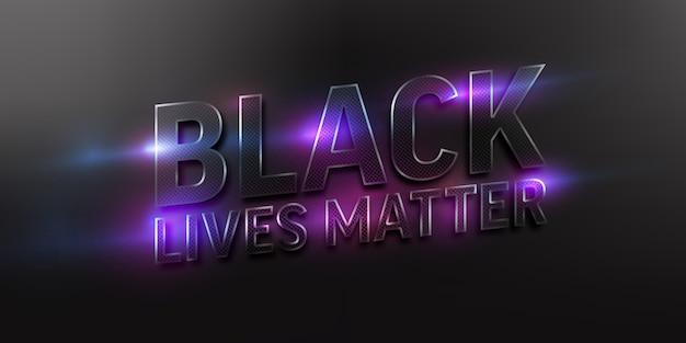 Vidas negras importam texto em fundo escuro com efeito de luz neon