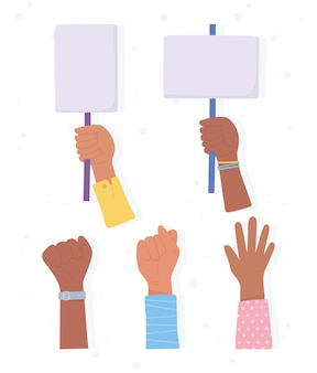 Vidas negras são importantes, banner para protesto, mãos levantadas com manifestantes de cartões, campanha de conscientização contra a discriminação racial
