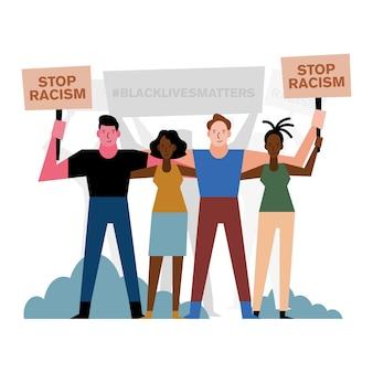 Vidas negras são importantes para o racismo, banners, pessoas e arbustos, design do tema protesto.