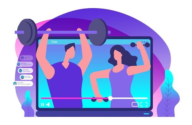 Vídeo ao vivo de esporte. ilustração de blogueiros de esportes