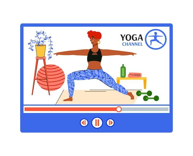 Vídeo blog online com exercícios de ioga para mulheres.