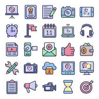 Vídeo blogging e copywriting flat icons pack