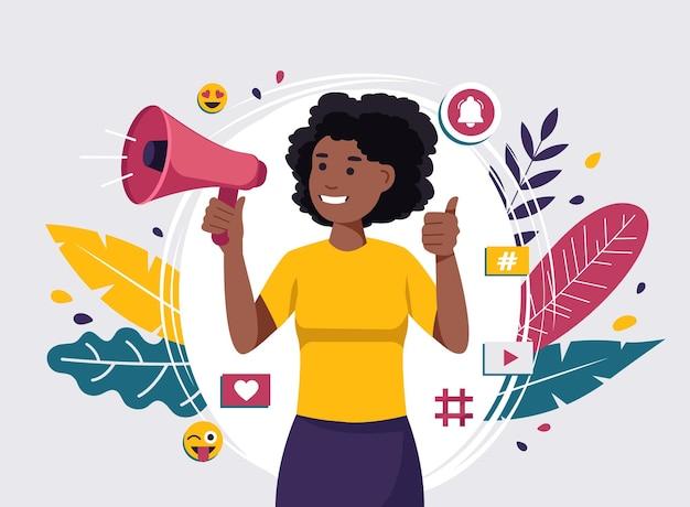 Vídeo-blogueira afro-americana fazendo ilustração de anúncios