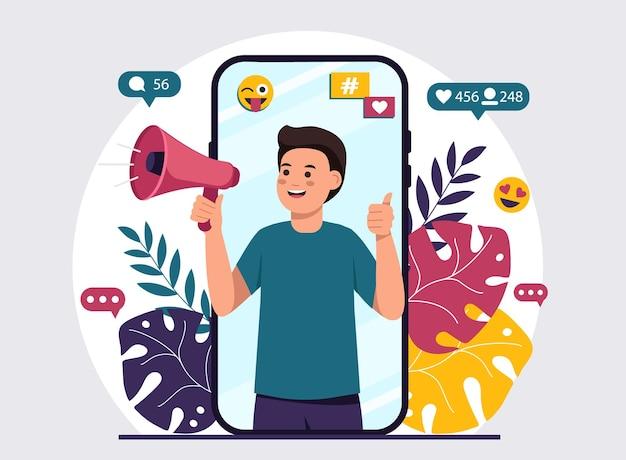 Vídeo blogueiro fazendo anúncios com um megafone
