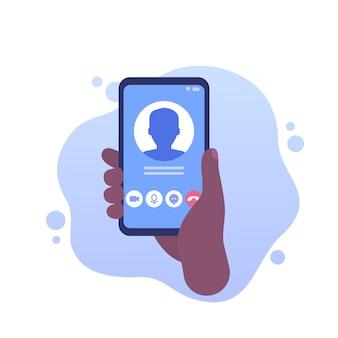 Vídeo chamada, ícone de vetor de telefone na mão