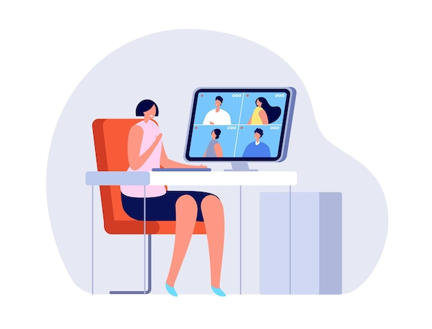 Video chamada. mulher perto do computador, conferência online ou reunião em casa. ilustração em vetor bate-papo digital de escritório virtual, garota e amigos. comunicação por chat de vídeo online para computador na internet