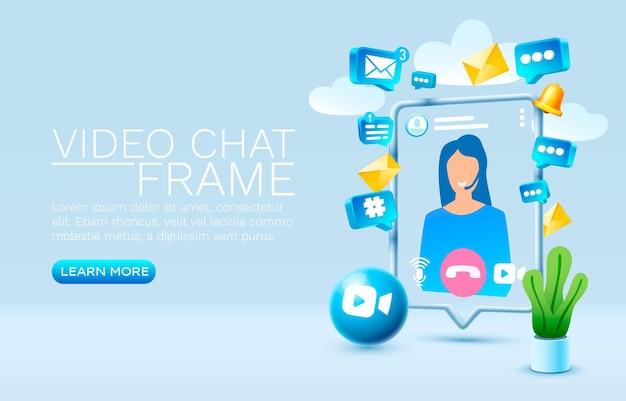 Vídeo chat smartphone tecnologia de tela móvel vetor de exibição móvel