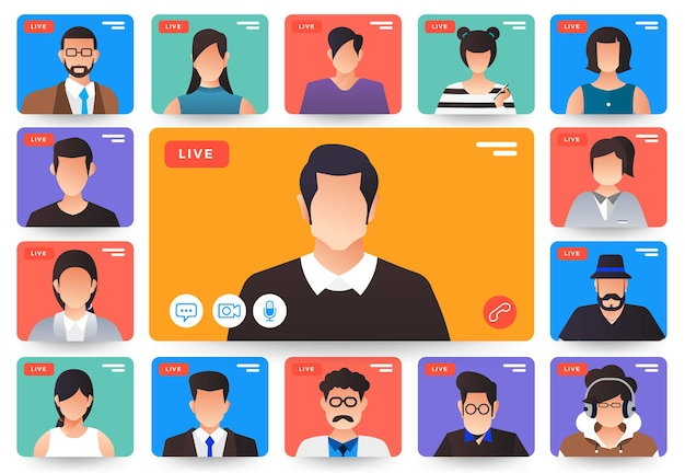 Vídeo-conferência do conceito de design plano de ilustrações. formulário de trabalho de reunião online para casa. chamada e vídeo ao vivo.
