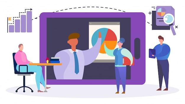 Vídeo-conferência do internet da equipe do negócio, ilustração. trabalho em equipe de análise da empresa em computador, rede corporativa.
