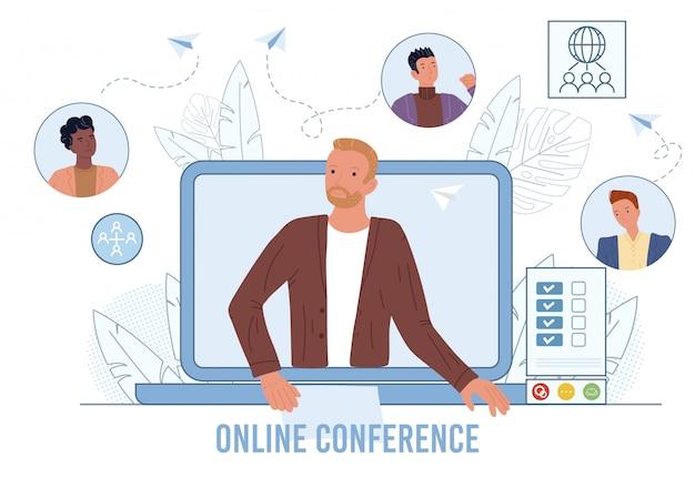 Vídeo-conferência na tela do laptop