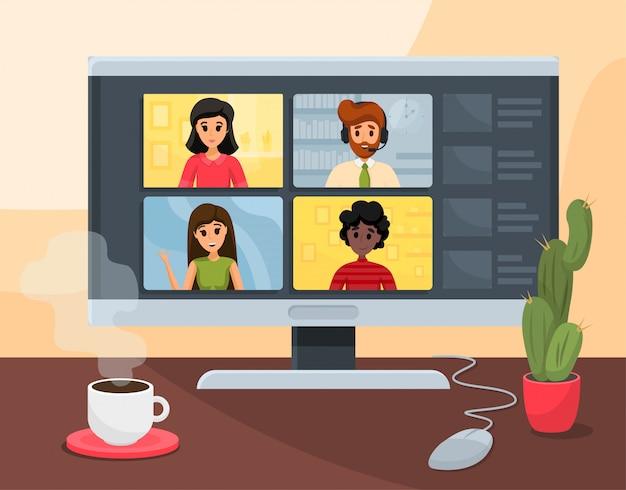 Vídeo-conferência, negócios, comunicação, conceito freelance