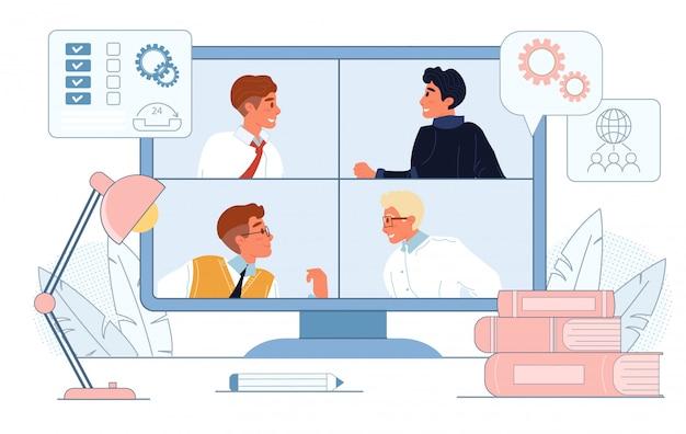 Vídeo-conferência on-line na tela do computador