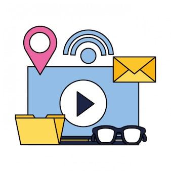 Vídeo conteúdo pasta e-mail internet mídia social