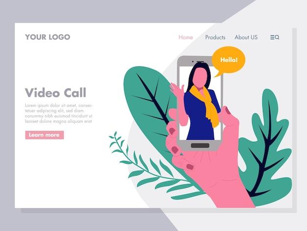 Vídeo de chamada de vídeo ilustração para página de destino