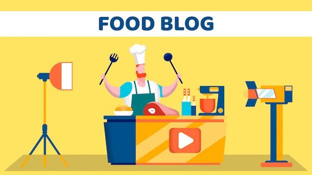 Vídeo de comida blog tiro fase plana ilustração