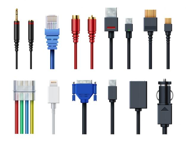 Vídeo de computador fio de cabo, áudio, usb, hdmi, rede e conectores elétricos e plugues vector conjunto isolado