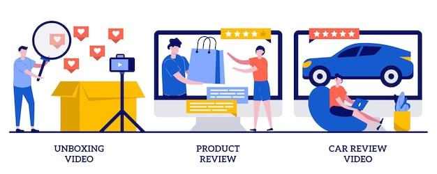 Vídeo de desempacotamento, ilustração de avaliação de produto e carro com pessoas minúsculas