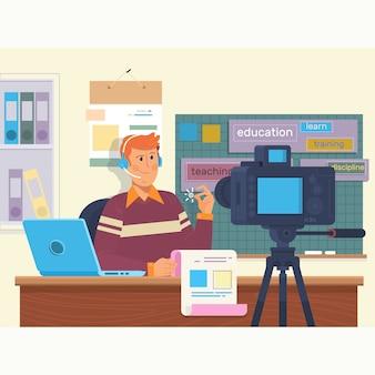 Vídeo de educação filmando nos bastidores