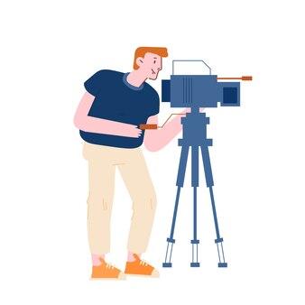 Vídeo de gravação de videógrafo de personagem masculino Vetor Premium