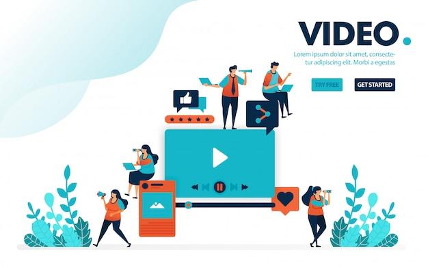 Vídeo e edição, upload e edição de vídeo para mídias sociais.