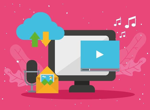 Vídeo e ícones de computador