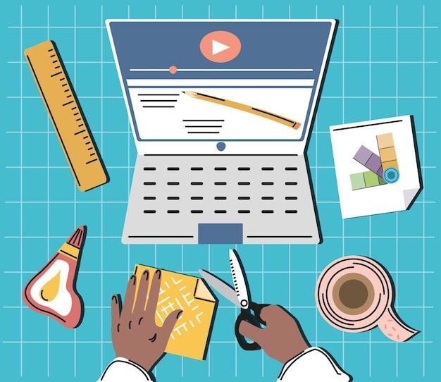 Vídeo ensinando mãos à obra com ferramentas Vetor Premium