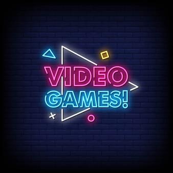 Video games sinais néon estilo texto vector