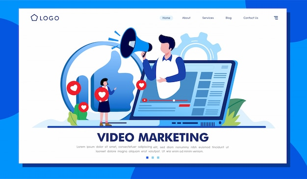 Vídeo marketing landing page site ilustração vector design