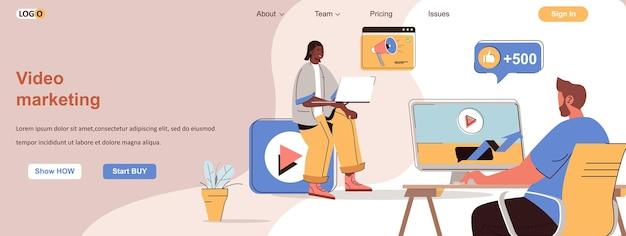 Vídeo marketing web conceito estratégia de promoção online de sucesso com videoblog
