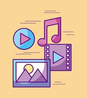 Vídeo multimídia música imagem play design