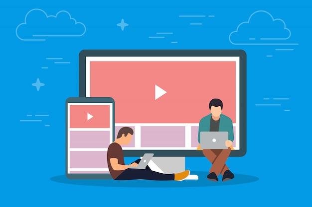 Vídeo na ilustração do conceito de dispositivo. jovens usando gadgets móveis, como tablet pc e smartphone, para visualização de vídeo na internet