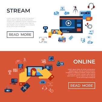 Vídeo on demand on-line coleção de ícones de tecnologia de streaming