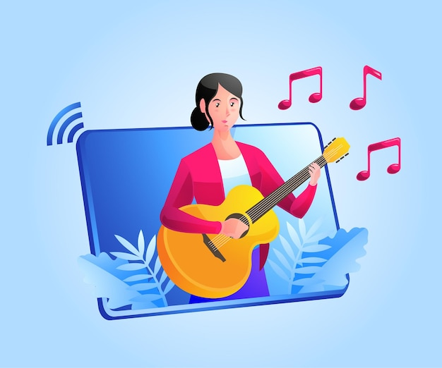 Video online music guitar lessons