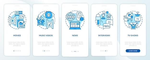 Vídeo para tela de página de aplicativo móvel de integração de aprendizagem de idiomas com conceitos. etapas de passo a passo de filmes, jornais, entrevistas. ilustrações do modelo de interface do usuário