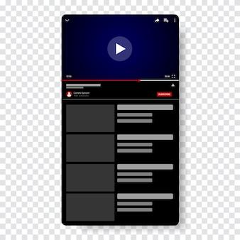 Video player modelo de design. janela de transmissão ao vivo de maquete, jogador. conceito de mídia social.