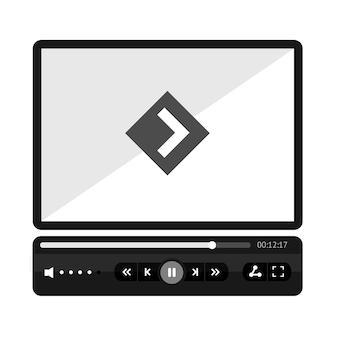Video player pele lisa. mock up vazio para ilustração vetorial de aplicativo