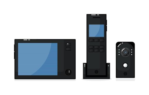 Vídeo porteiro com painel externo, telefone na porta e monitor
