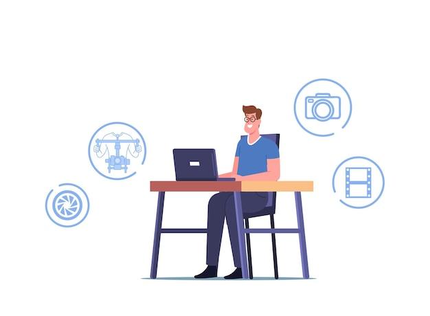 Vídeo profissional de edição de personagem de cinegrafista em laptop com app para edição de conteúdo de mídia. produção de filmes, software de computador usado pelo homem ou aplicativo para montagem de filmes. ilustração em vetor de desenho animado
