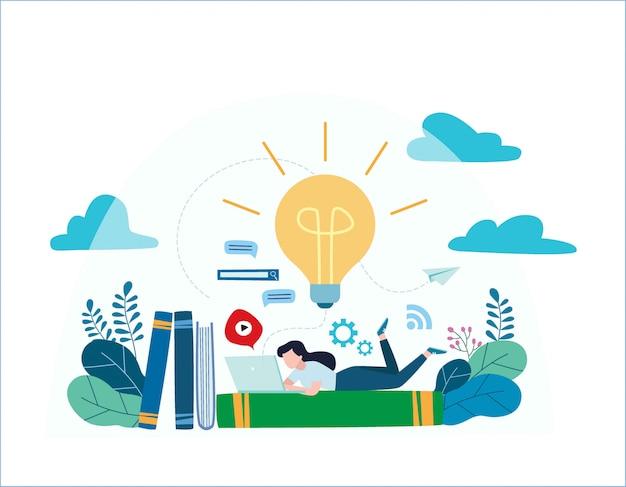 Vídeo tutorial, cursos de formação. garota deitada em livros e livros enquanto navega na internet com um laptop para idéias