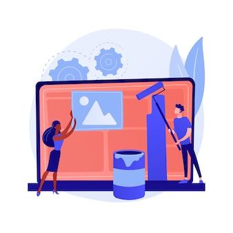 Vídeo tutorial de design gráfico. curso de arte tradicional na internet. masterclass online do pintor. aula a distância de web designer. ilustração do conceito de pintura, e-learning, educação