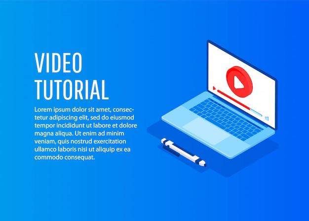 Vídeo tutorial. ilustração conceitual para web e design gráfico, marketing.