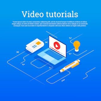 Vídeo tutorial. ilustração conceitual para web e design gráfico