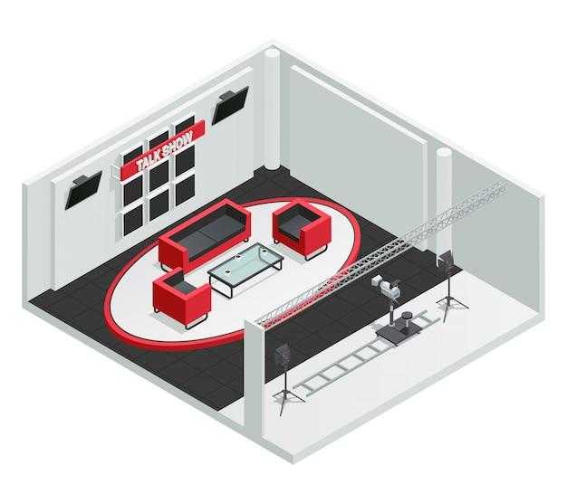 Vídeo tv talk show studio composição interior isométrica com câmera de móveis