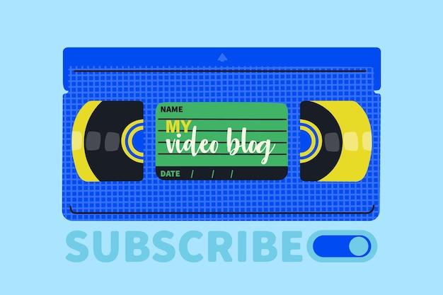 Videocassette. capa para um videoblog. desenho à mão ilustração vetorial retro
