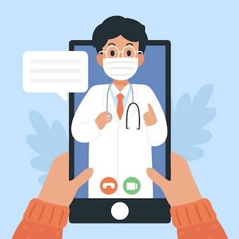 Videochamada com o terapeuta ilustrado