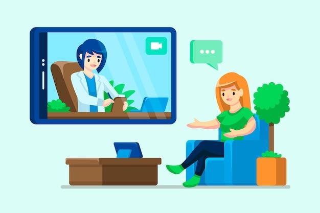 Videochamada com o terapeuta