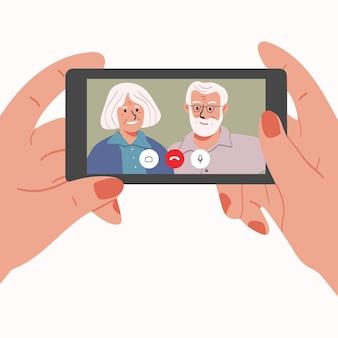 Videochamada com os avós ou ilustração dos pais em estilo simples de desenho animado