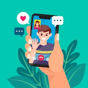 Videochamada de amigos ilustrada